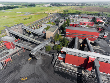 Panorama aerial view shot of coal processing plant, industrial production