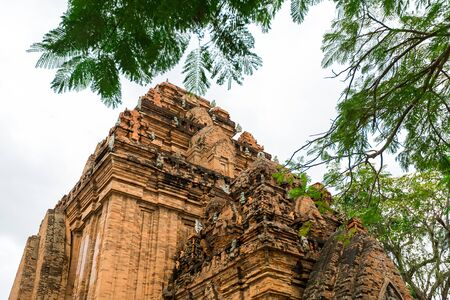 po: Old Vietnamese temple Tyam towers Po Nagar, Cham tower, Nha Trang Stock Photo