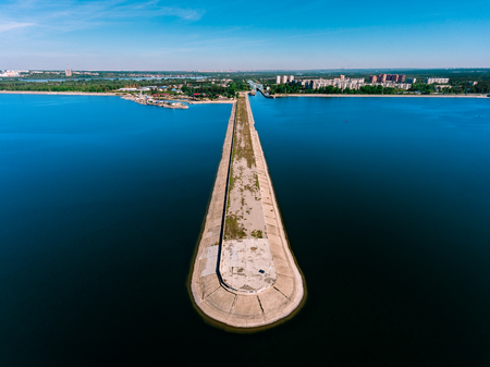 Aerial view of breakwater at sea, mole, pier, cutwater Stock Photo