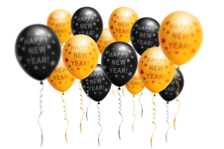 Bright gold and black balloons 2019, Christmas, New Year Balloon with glitter on white background. Isolated. Ballon inscriptions