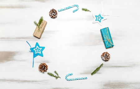 Christmas composition gift boxes with pine tree and decoration for mock up template design. View from above. copy space Stock Photo