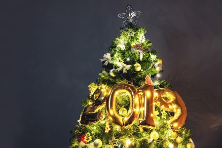 Decorated Christmas tree 2019, Merry Christmas and Happy new year 2019, banner background, Happy Holidays, Christmas snow background Stock Photo