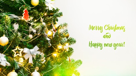 Decorated Christmas tree closeup, Merry Christmas and Happy new year 2019, banner background, Happy Holidays, Christmas snow background