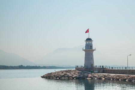 Sea lighthouse. Lighthouse in Alanya, Antalya district, Turkey.