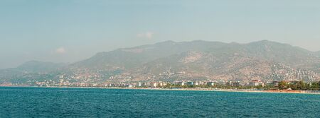 Panorama of the old town overlooking the beach. View of the resort town.