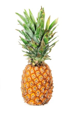 Pineapple fruit with leaf isolated on white