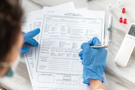 Concept Novel coronavirus 2019-nCoV. Lab form virus test.  coronavirus outbreak. MERS-Cov middle East respiratory syndrome coronavirus. Still life of medical instruments n-cov, ncov.