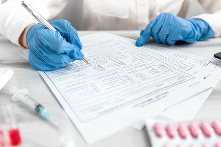 Concept Novel coronavirus 2019-nCoV. Lab form virus test. Chinese coronavirus outbreak. MERS-Cov middle East respiratory syndrome coronavirus. Still life of medical instruments n-cov, ncov.