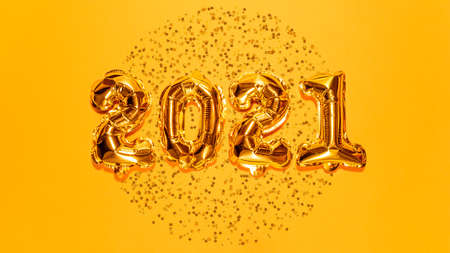 Happy New year 2021 celebration. Bright gold balloons figures, New Year Balloons with glitter stars on bright yellow background. Christmas and new year celebration. Gold foil balloons 2021 gift card Foto de archivo