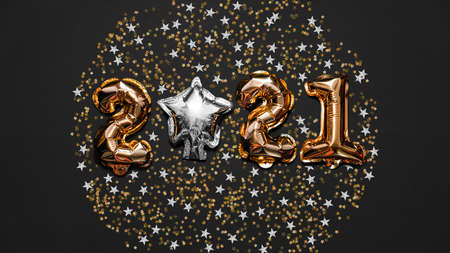 Happy New year 2021 celebration. Bright gold balloons figures, New Year Balloons with glitter stars on dark background. Christmas and new year celebration. Gold foil balloons 2021 gift card Foto de archivo