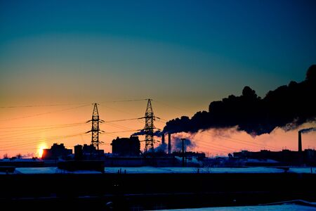 Sunset at factory. Stock Photo - 6959724