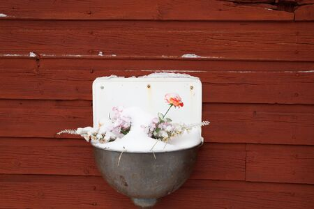 Wall - bowl - flower - snow Stock Photo