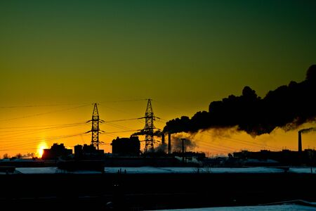 Sunset at factory. Stock Photo - 7066131