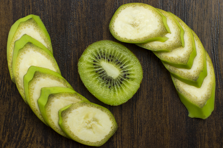 kiwi banana beautifully arranged fresh juicy vitamins tropical