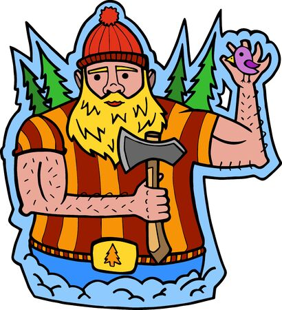 color illustration of a cheerful lumberjack welcomes