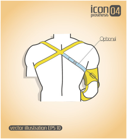 him: Schematic representation of the body with fastening him prosthetic hands Illustration