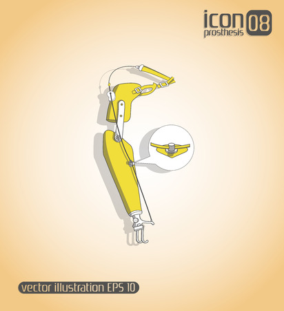 schematic: Schematic representation of the body with fastening him prosthetic hands Illustration