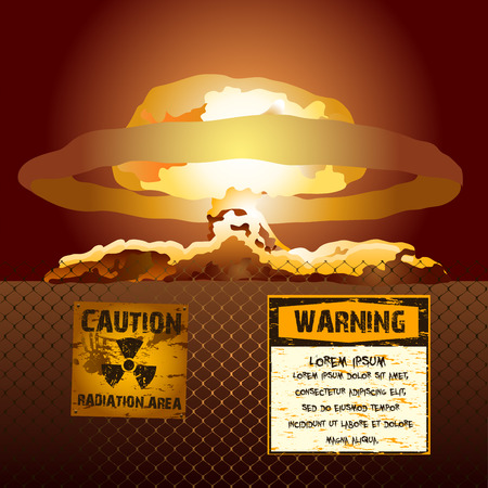 nuclear sign: Nuclear explosion sign radioactive area vector background poster