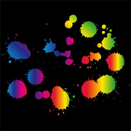 Colored blots on the black background vector