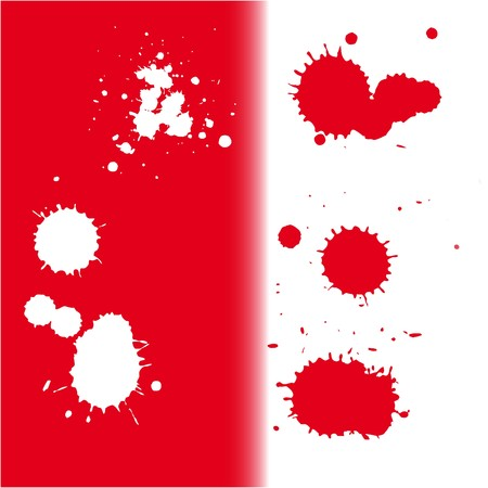 beautiful ink blots on red and white background