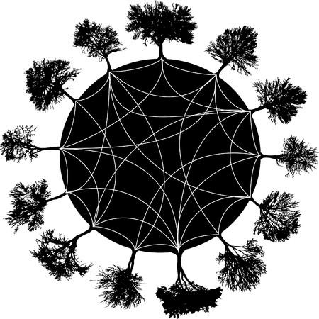 Silhouette tree planet. Vector illustration
