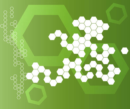 Abstract Hexagonal Shapes green Background  Illustration