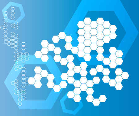 Abstract Hexagonal Shapes blue Background Illustration
