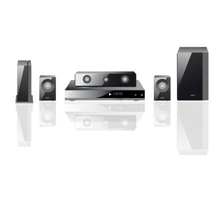 acoustics: acoustics theater components  audio,  Remote Control, Speakers, DVS Illustration