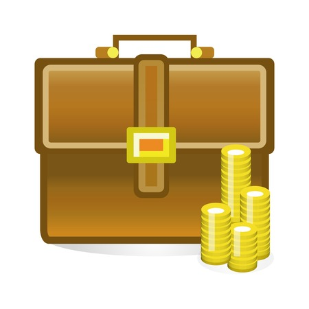 credit crunch: isolated business bag vector illustration