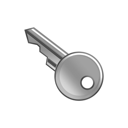 patent key: grey metal key vector illustration open house object Illustration