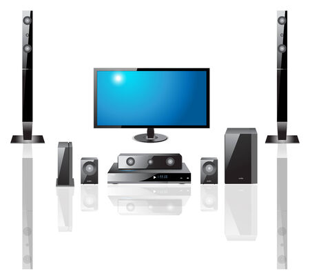 home theater Components  Television,  Remote Control, Speakers, DVS