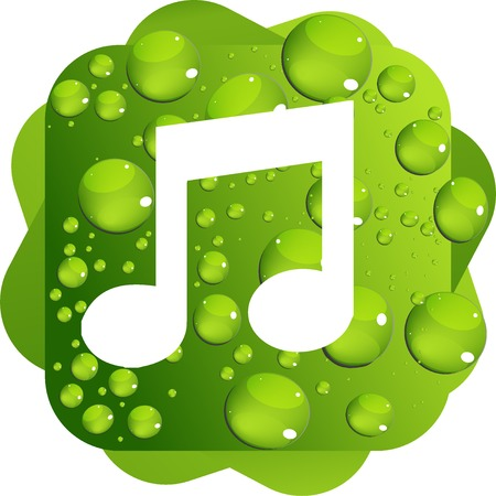 Water drops on green background music icon Illustration