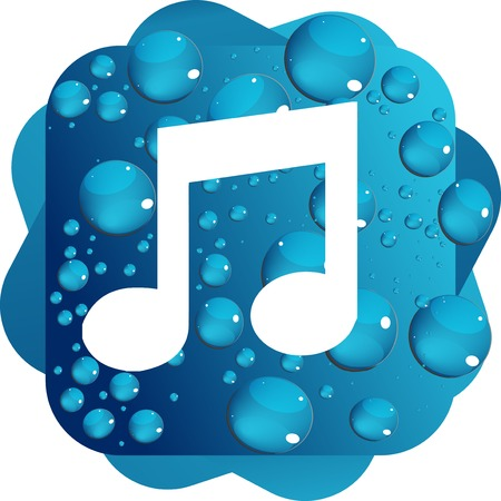 Water drops on blue background music icon Stock Photo