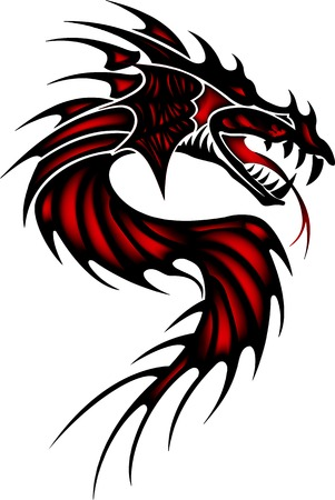 tatouage dragon: Tatouage dragon rouge