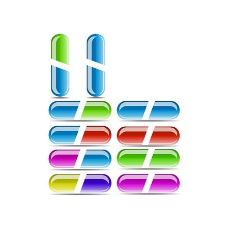 Many colorful pills isolated on white Illustration