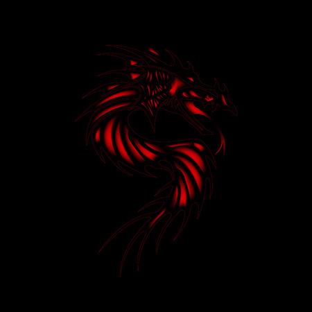 Tattoo red dragon black background