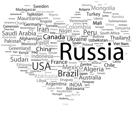 text concept in word tag cloud isolated world countries