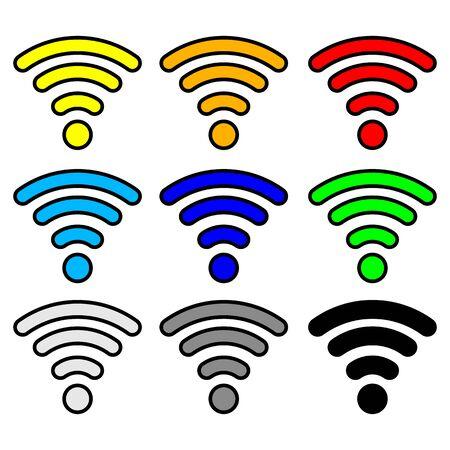 multi color: multi color wifi wireless hotspot internet signal symbols
