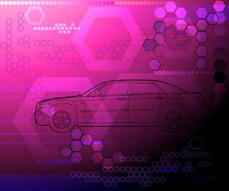 concept avto drawing pink futuristic background illustration