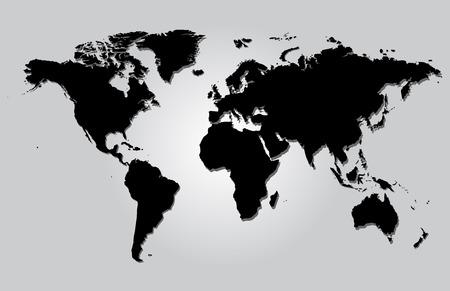 World map gray illustration vector with borders Illustration