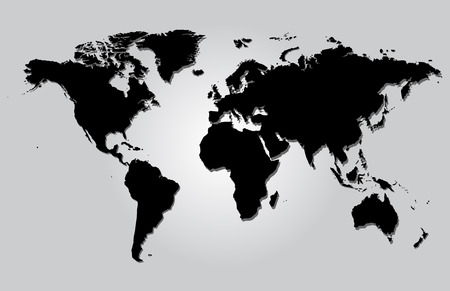 World map gray illustration vector with borders Illustration
