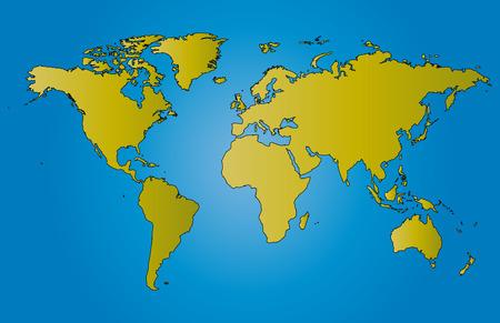 World map illustration vector with borders Illustration