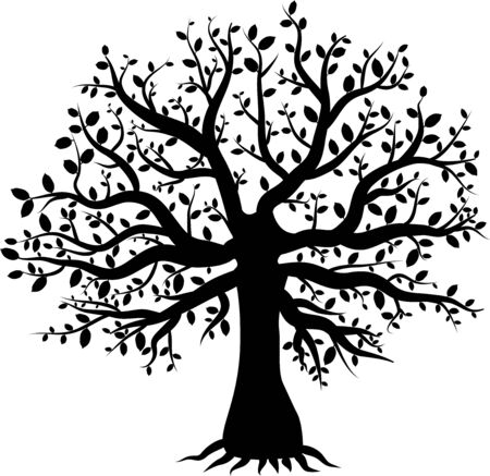 abstract vector tree with  leaves Illustration