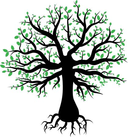abstract vector tree with green leaves Illustration