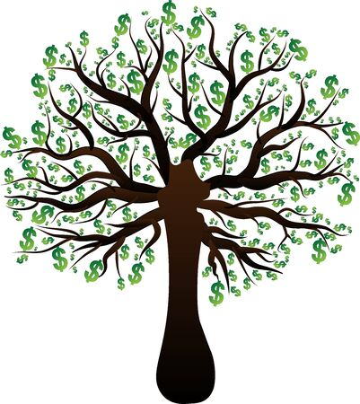 silhouette of a tree green dollar money