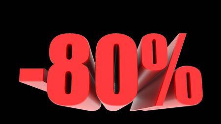 -80 percent off discount promotion sale. 3D Render.