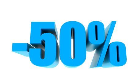 -50 percent off discount promotion sale. 3D Render.