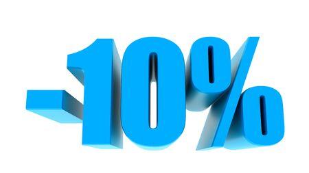 -10 percent off discount promotion sale. 3D Render.