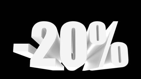 -20 percent off discount promotion sale. 3D Render. Stok Fotoğraf