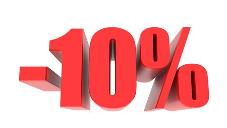 -10 percent off discount promotion sale. 3D Render. 3D-Illustration percent discount collection for your unique selling poster, banner ads. Christmas, Xmas sale and more